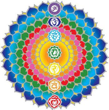 es 7 chakras majeurs avec leur symbole en sanskrit